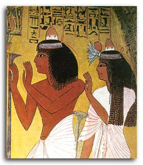 Egiptian Couple on wall representing beauty and perfumation